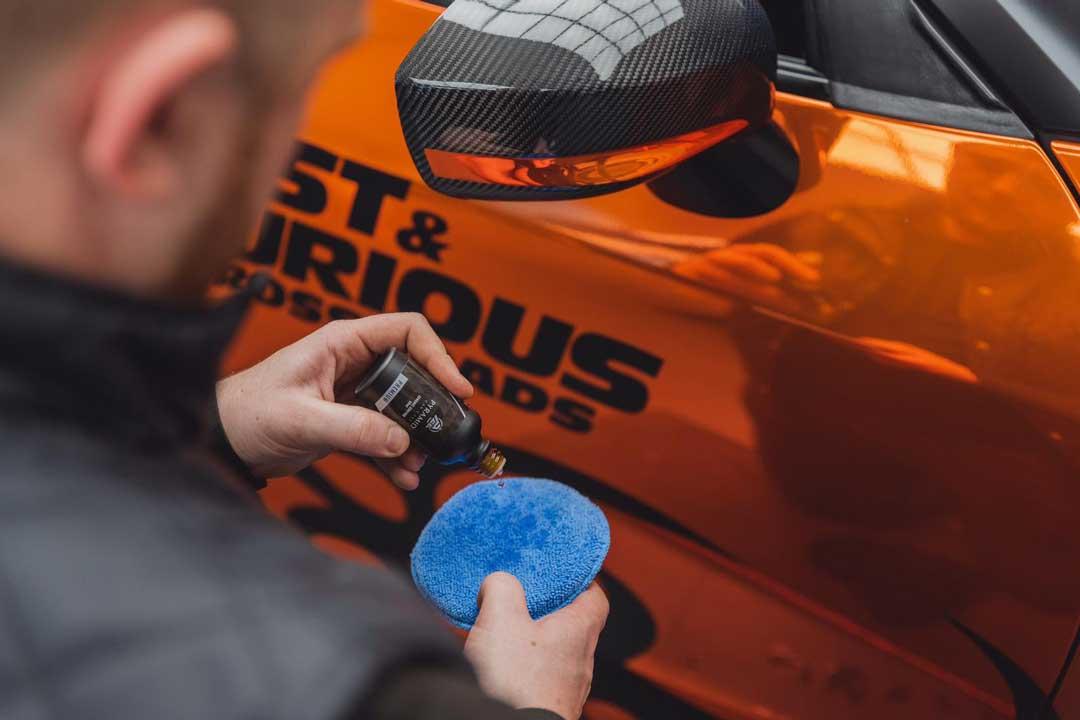 Ceramic Coating application photo on this stunning chrome orange Nissan GTR